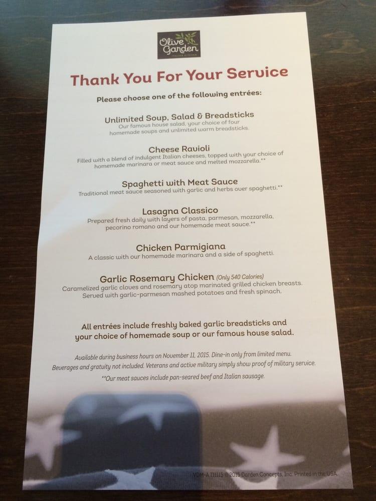 Pizza Olive Garden Menu: Veteran's Day Menu! Thank You Olive Garden!!