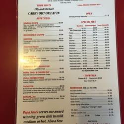Papa Jose S Union Cafe Pueblo Co Menu