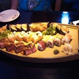 Sakana Japanese Restaurant - Nanuet, NY, United States. Sushi boat with Fulton Market, Kimono, Ocean and spider rolls.