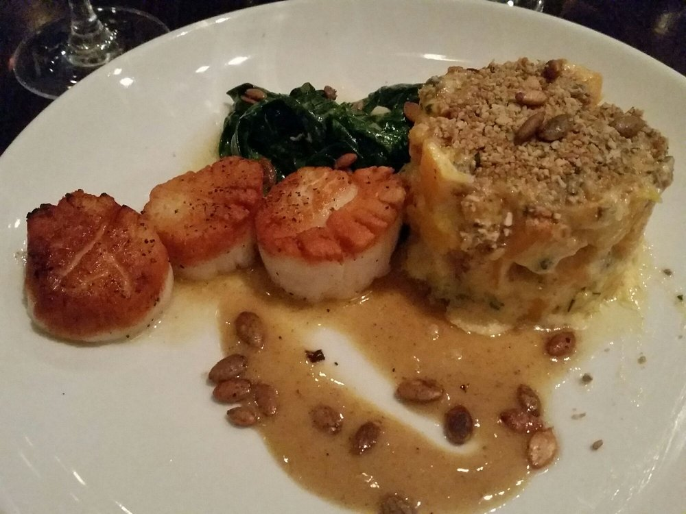 Seared scallops like buttah the gratin will make you want for Humboldt farm fish wine