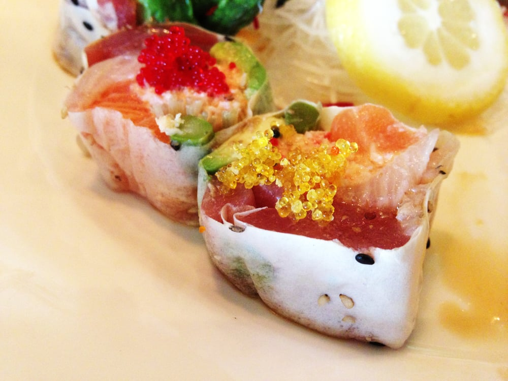 Sashimi roll soy paper a variety of fish salmon tuna for Best fish for sushi