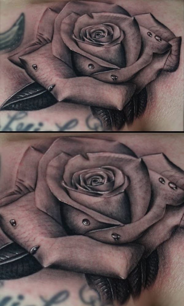 Custom realistic flower tattoo for Chicago ink tattoo