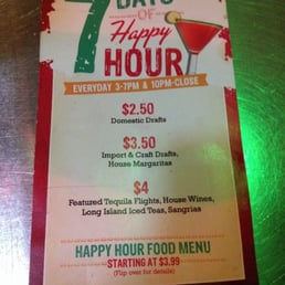 The Party's On with our NEW Happy Hour, EVERY DAY from pm! Beat-the-Clock with our Drink Specials on the Hour: $3 drinks from pm, $4 from pm, $5 from pm, and $6 from 6pm to the end of Happy Hour.