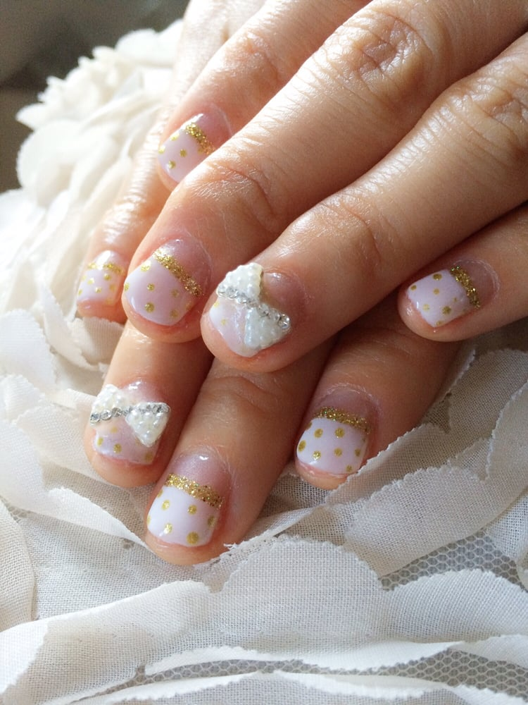 Gel manicure, White French, Gold polka dots, Gold stripes and pearl ...