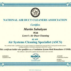photo of lowes air duct cleaning arlington va united states ascs certificate - Duct Cleaning Jobs