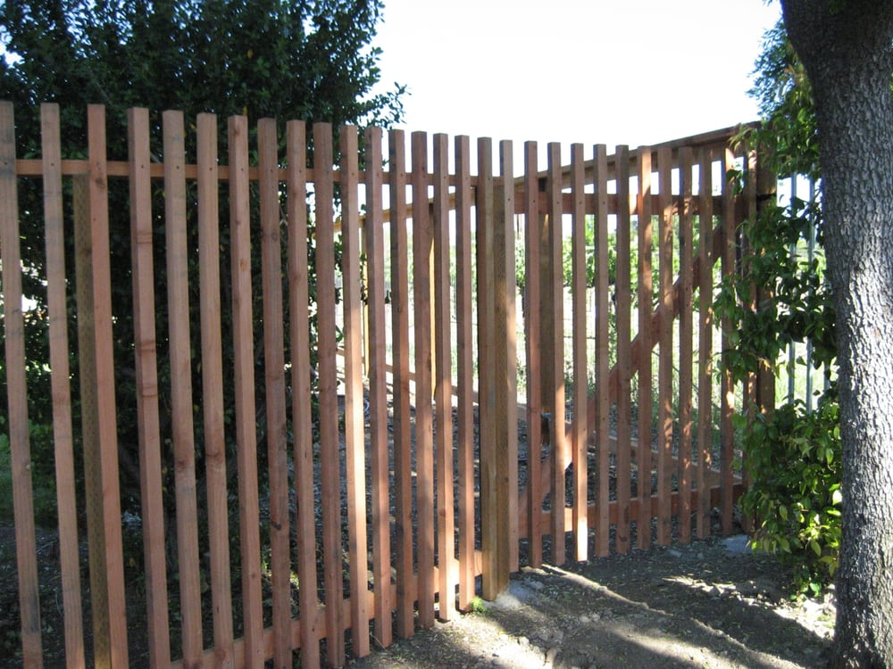2x2 Redwood Picket Fence With Gate Front View Yelp