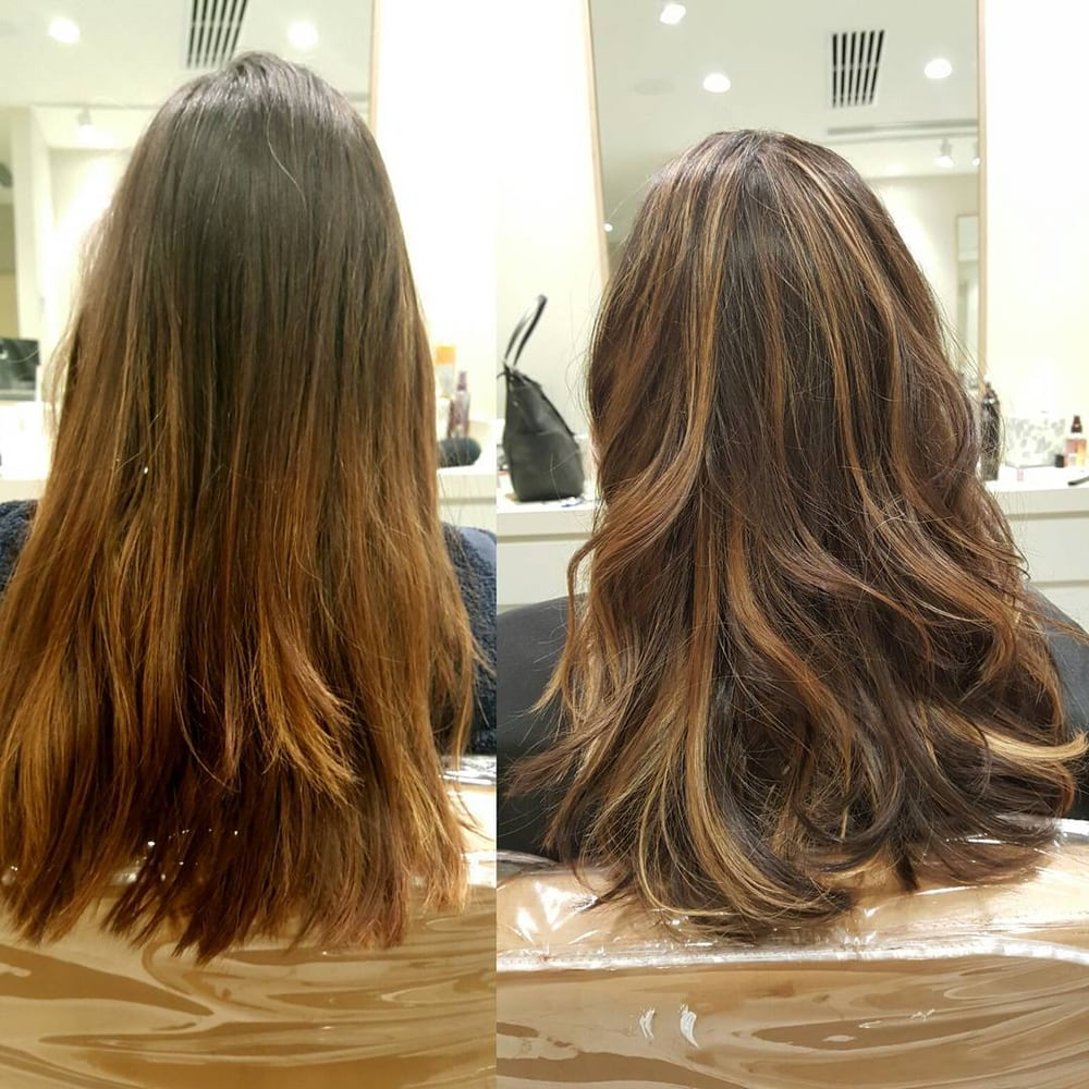 Left before right after haircut and balayage highlights for Absolutely flawless salon