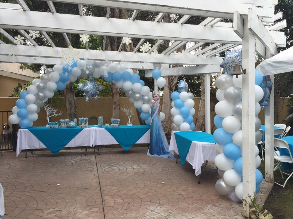 Frozen Theme Party Balloon Arches Balloon Columns Table