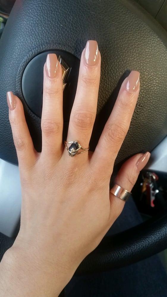 Pretty interview nails! A coffin shape with Dulce de Leche polish by ...