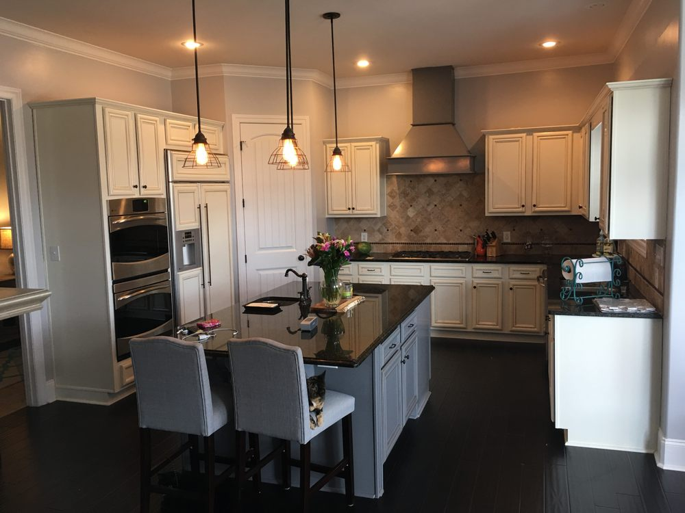 Antique White Kitchen Cabinets, Cinder Gray Island and ...