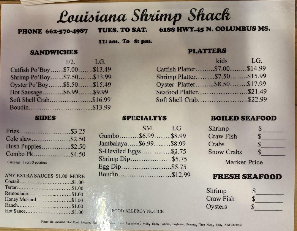 Louisiana Shrimp Shack: 6188 Hwy 45 N, Columbus, MS