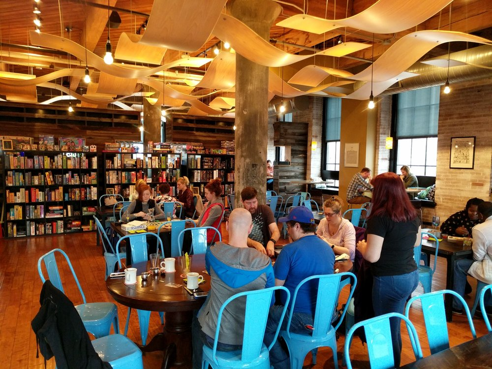 Photo of Pieces The St. Louis Board Game Bar & Cafe - St. Louis, MO, United States. Main dining room