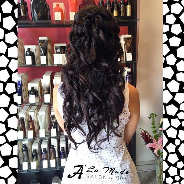 Half up half down hairdo yelp for A la mode salon brooklyn