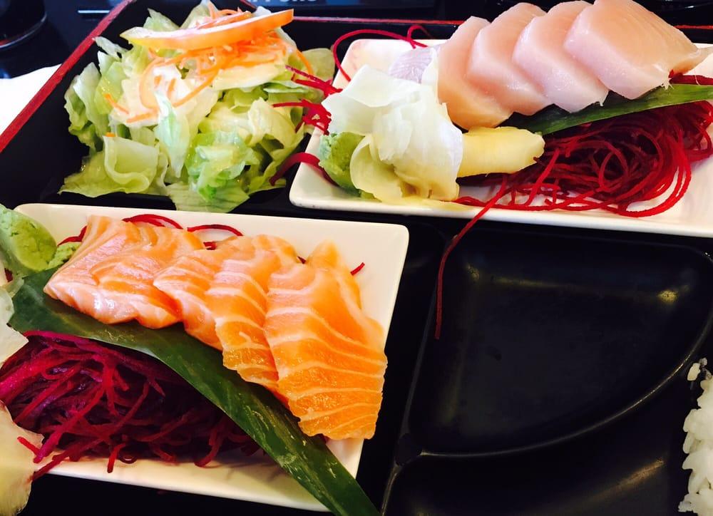 Salmon and yellowtail sashimi w house salad yelp for Naked fish hayward