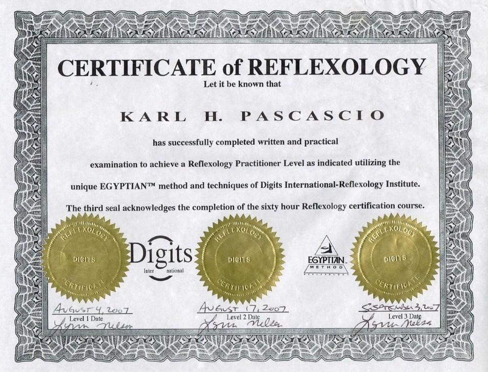 Karl\'s Reflexology certification - Yelp