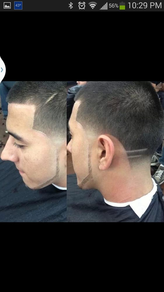 Caesar Haircut With A Tape Up Andb Two Lines And Chin Stripe Slick