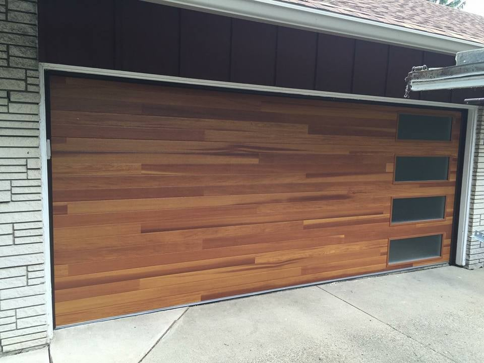 Chi Cedar Plank Accent Garage Door With Obscure Window Yelp