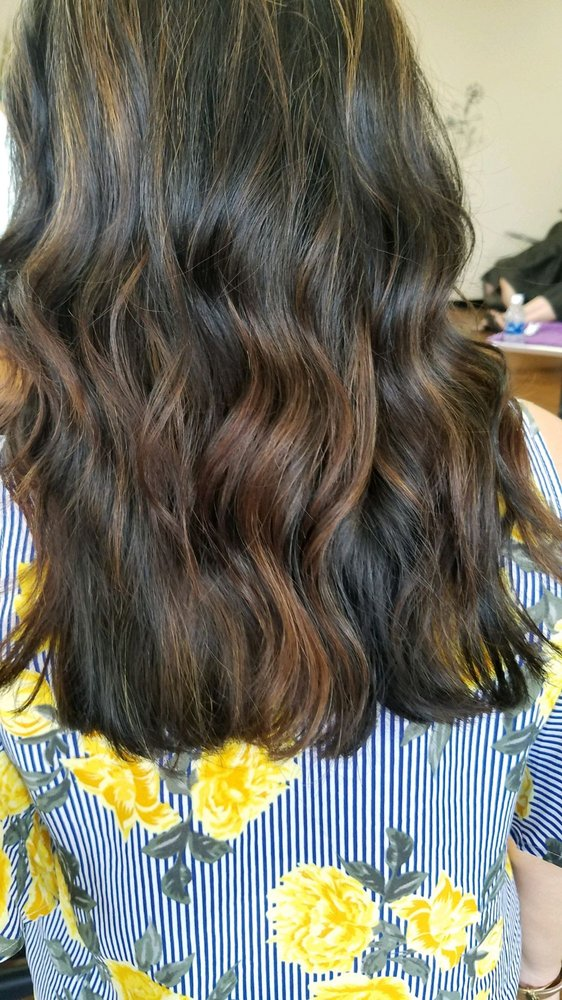 Caramel balayage on my black hair achieved after 1 coloring