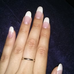 french tip round acrylic nailslee   yelp