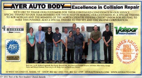 Ayer Auto Body: 10 W 2nd St, Barre, VT