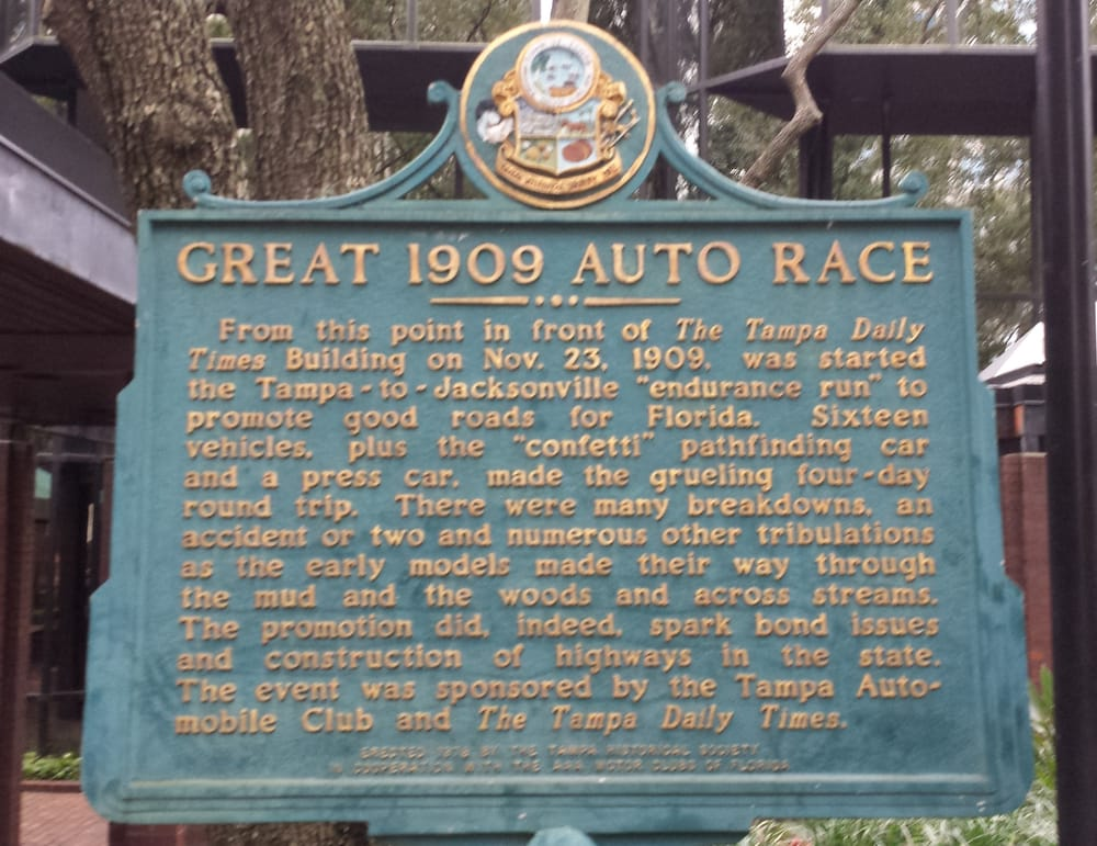 Great 1909 auto race historical marker in downtown tampa for Select motors of tampa tampa fl