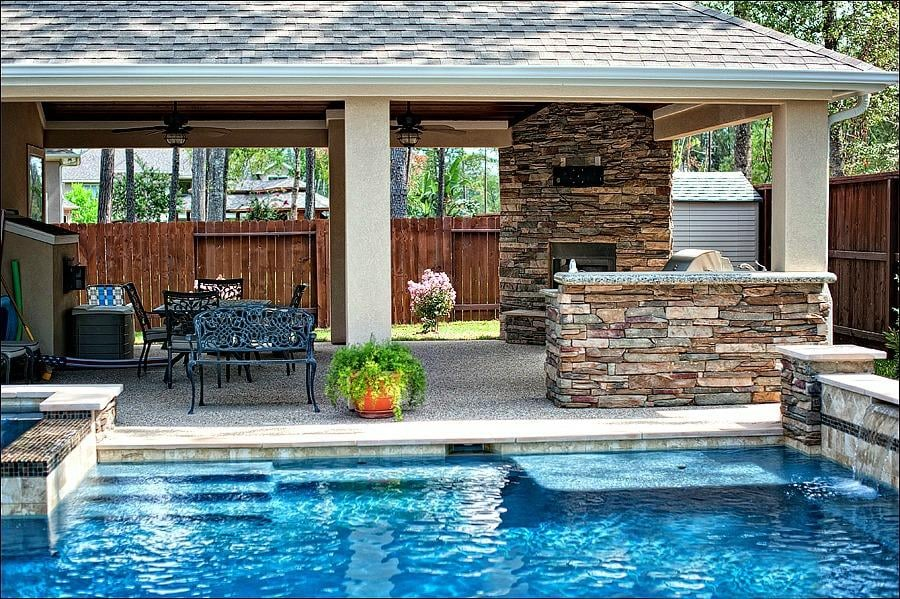 Custom patio cover outdoor kitchen fireplace with tv - Outdoor fireplace with tv ...