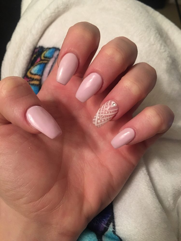 Baby Pink Acrylic Coffin Cut Nails With Henna Design Design Done By