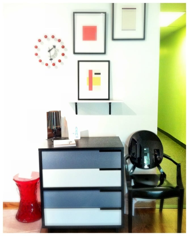 Blu dot dresser with kartell 39 s louis ghost chair and for Office design northbrook il
