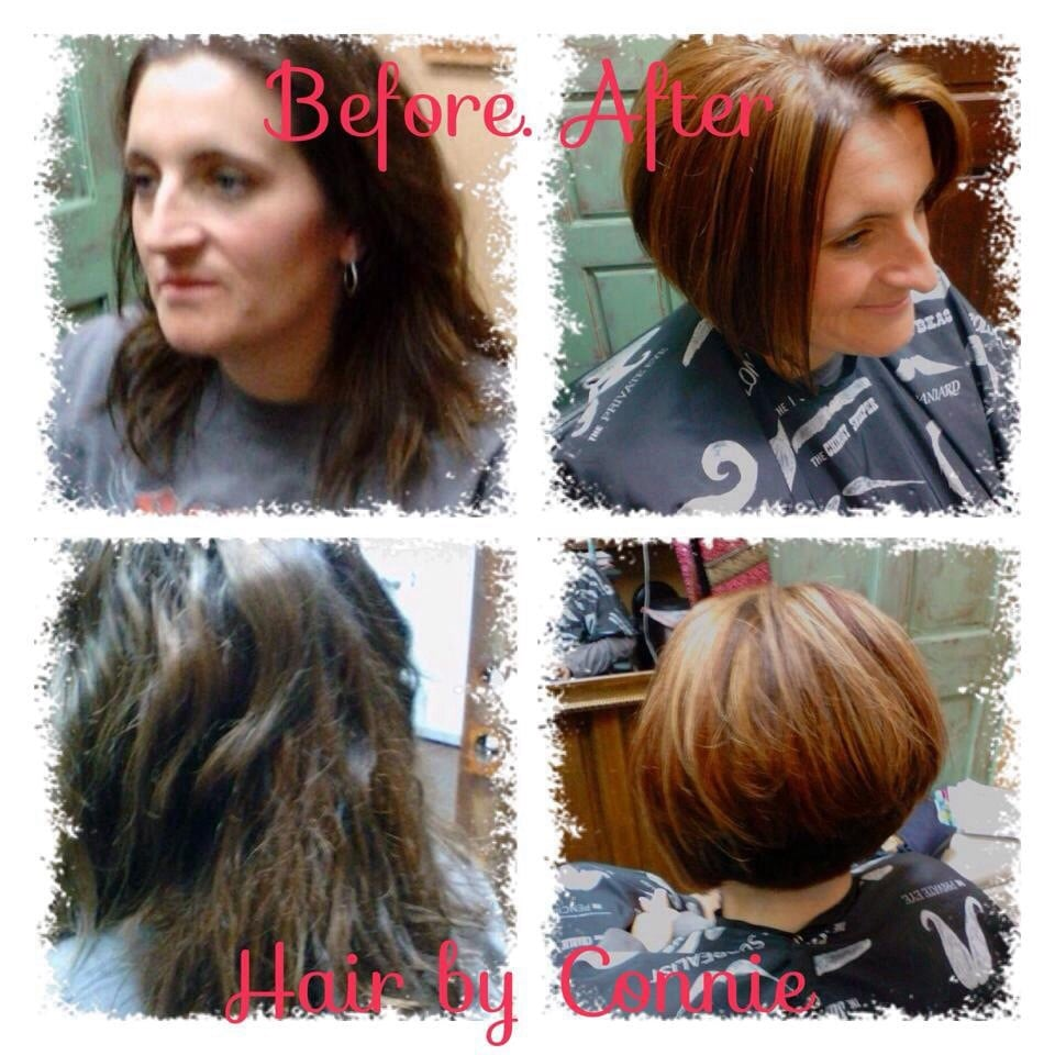 Before And After Photo Of Hair Color And Short Haircut Style At