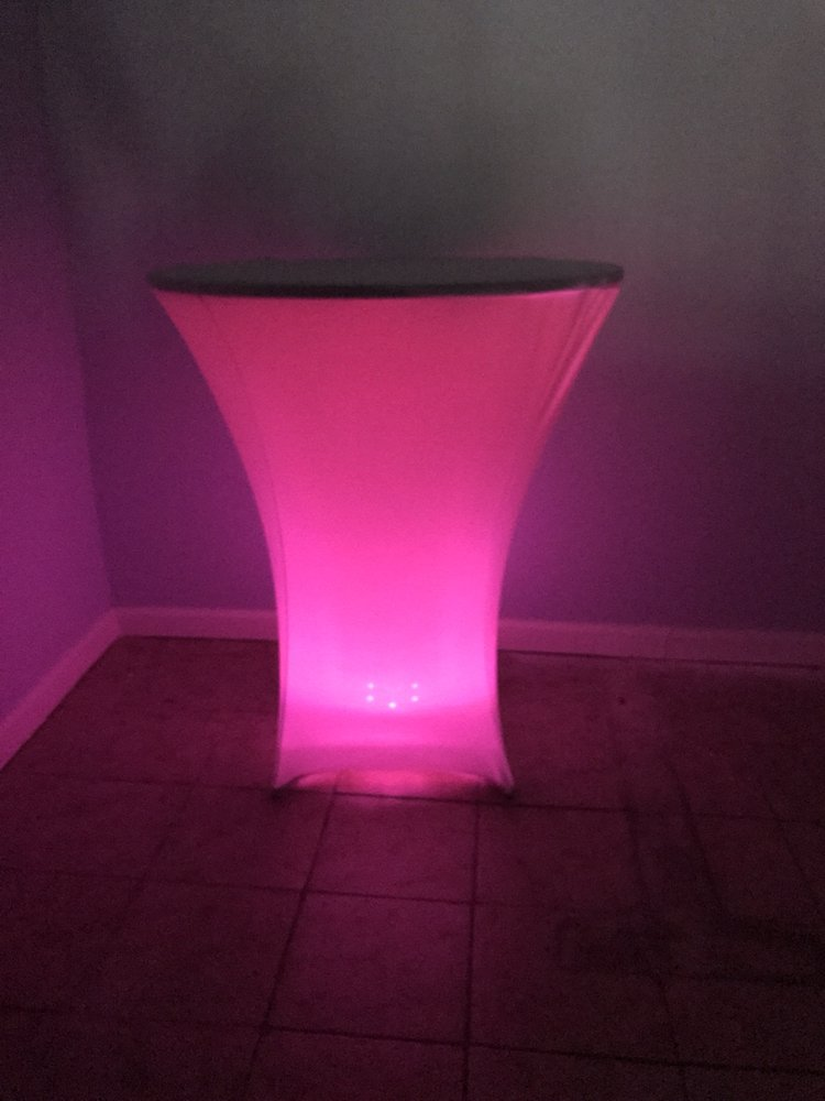 Multiple color cocktail tables ea rental price yelp for Rent cocktail tables near me