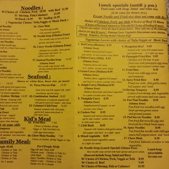 White Elephant Thai Restaurant Menu
