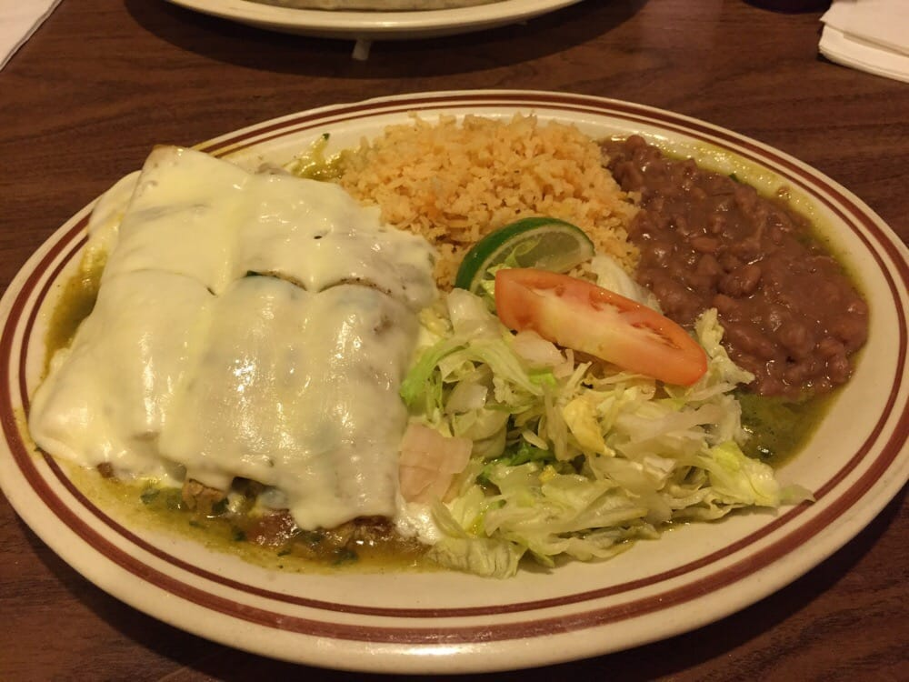 ... , IN, United States. Enchiladas verdes dinner (2 chicken/1 picadillo