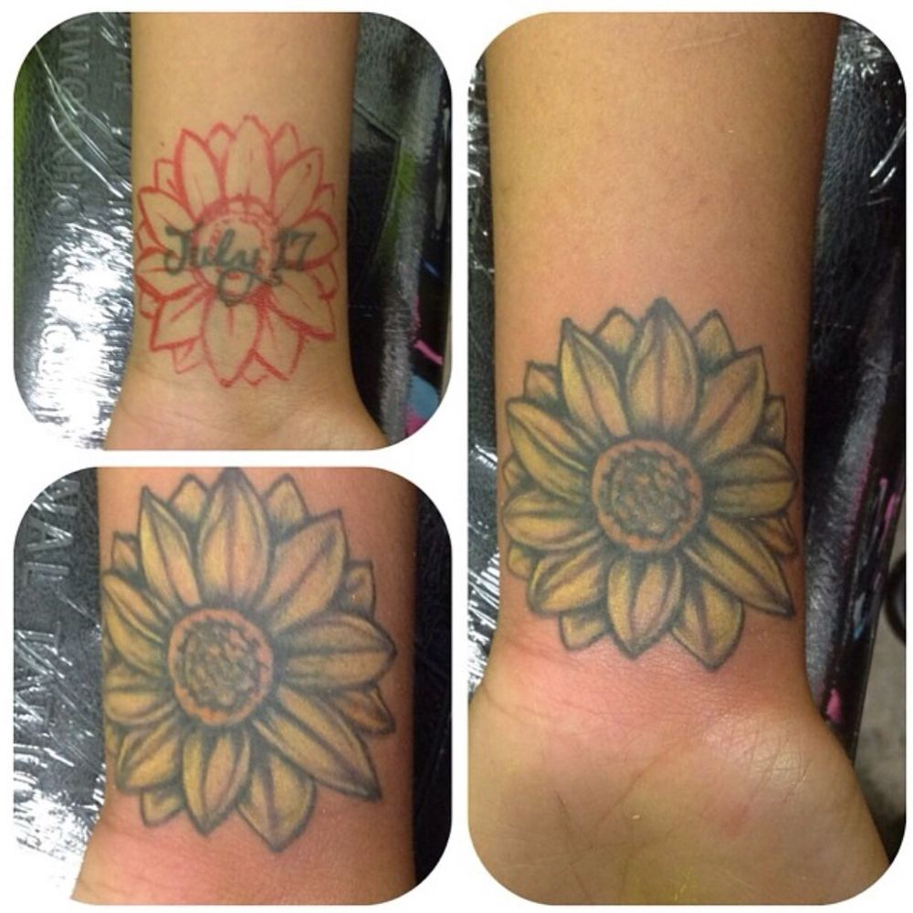 Name on wrist Cover-up tattoo done by Ray from Island City Tattoos ...