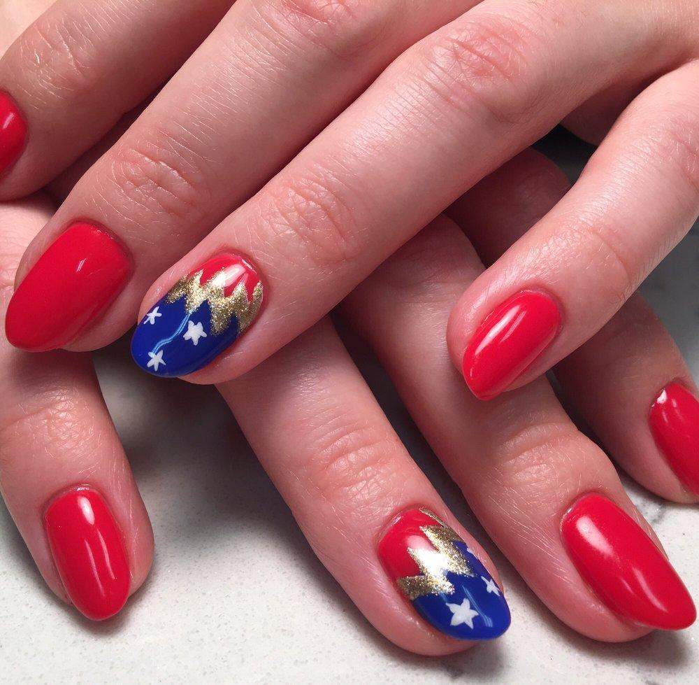 Wonder Woman nail art by Jolyn. - Yelp
