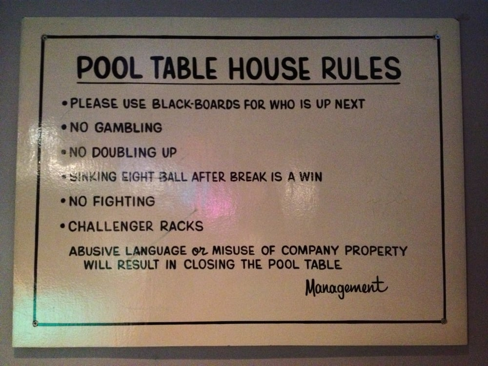 pool table house rules yelp rh yelp ca pool table rules nz pool table rules and regulations