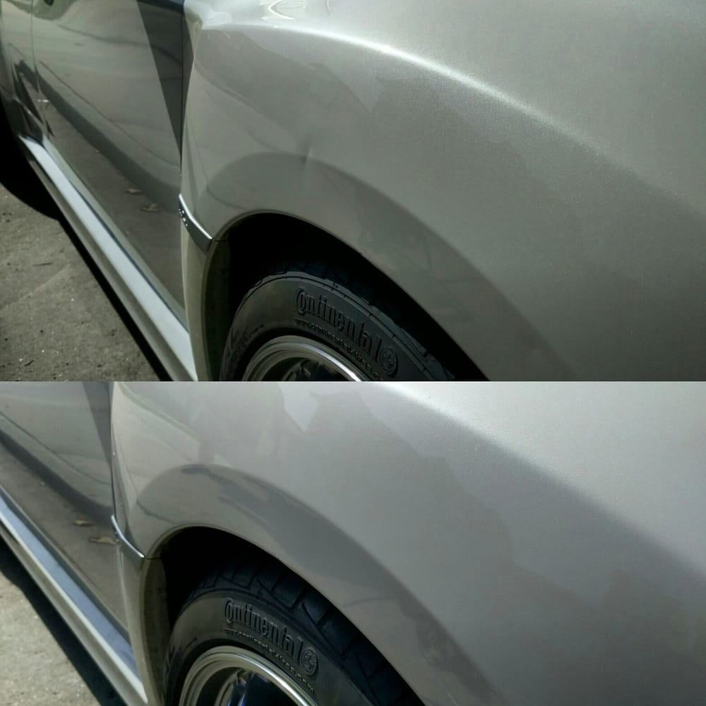 4 photos for Deluxe Dent & Before (top) After (bottom) - door ding on a body line was no ...