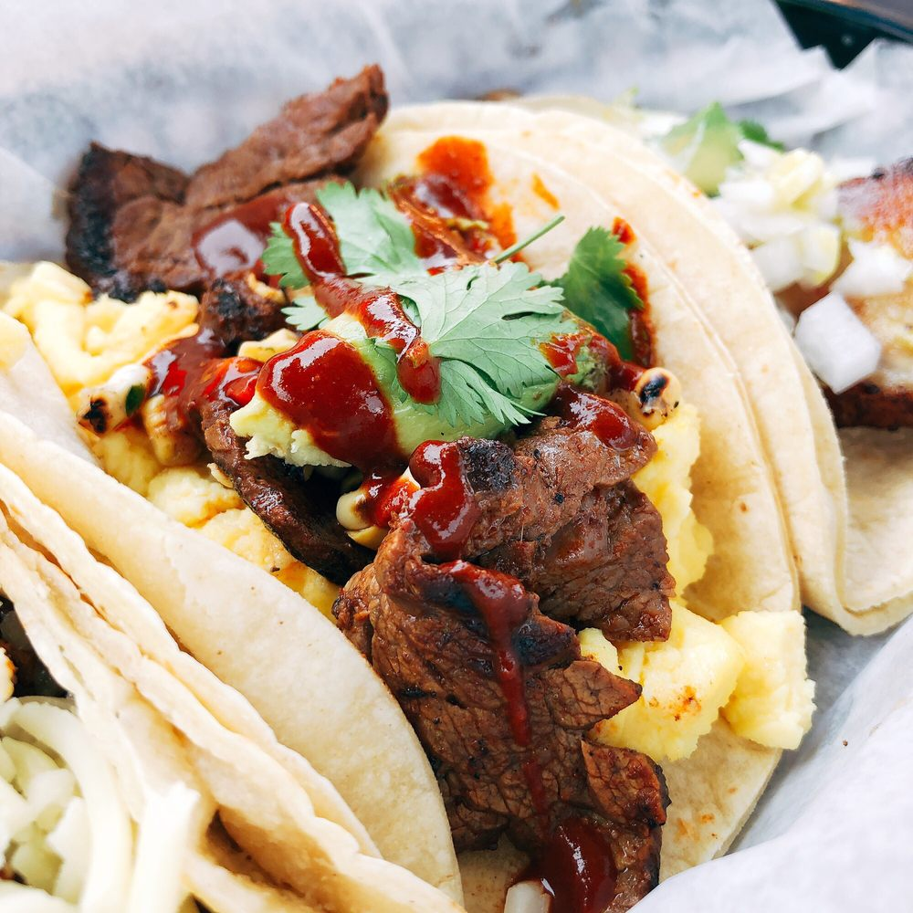 Food from Brazos Tacos