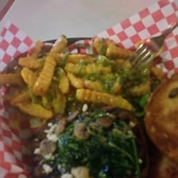 ... . My burger is Gourmet burger is awesome with queso and chili fries