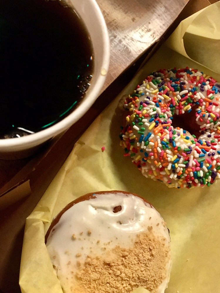 Decaf coffee free sprinkle birthday cake donut and blueberry