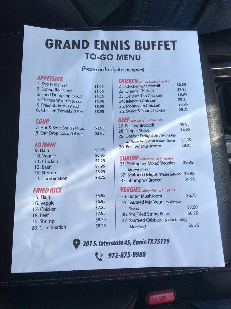 Grand Ennis Buffet: 201 S Interstate Hwy 45, Ennis, TX