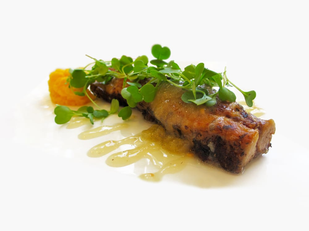 Crispy pork belly with butternut puree roasted feijoa for Aroha new zealand cuisine