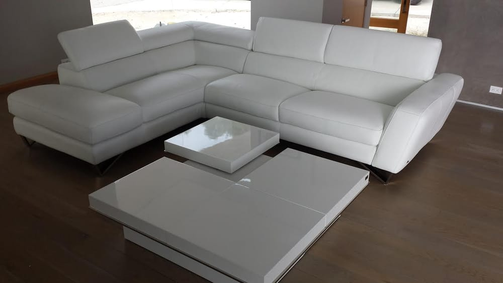 White Italian Leather Sectional Sofa With A&X