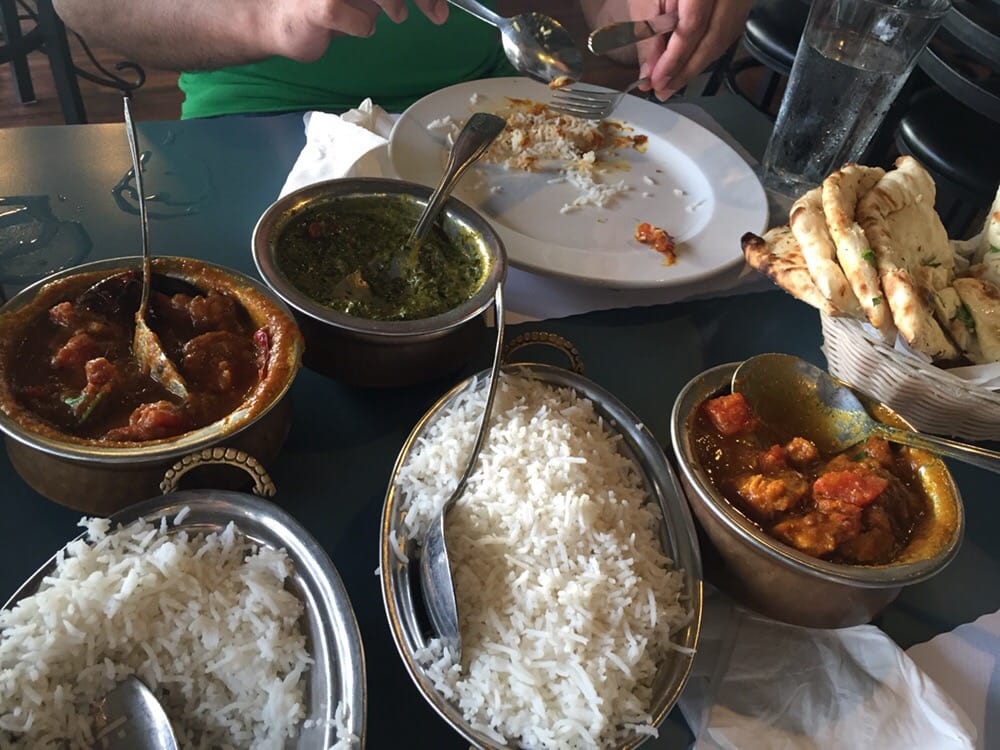 Fish curry shrimp curry palak paneer and white rice were for All about indian cuisine