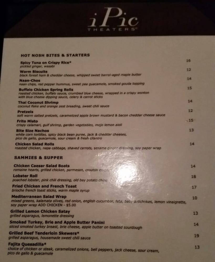 regular menu for food. - yelp