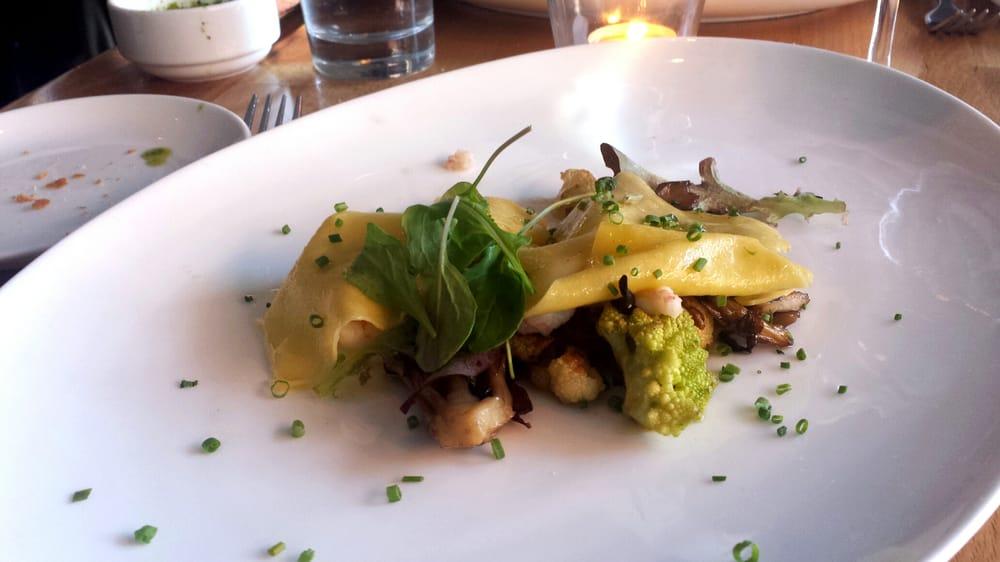 Open faced mushroom cauliflower and rock shrimp ravioli for Little fish philly