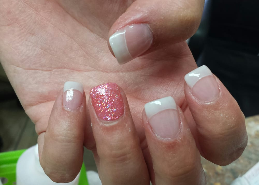 Acrylic nails with American manicure and gel glitter polish - Yelp