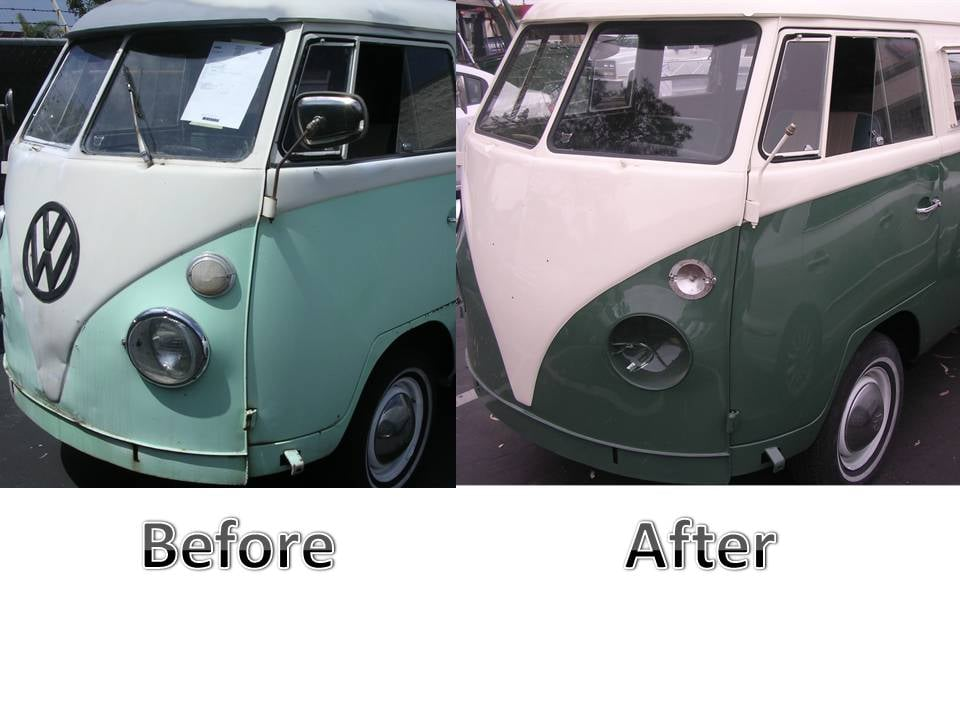 This Is Before And After Photo Of A VW Bus Are Technicians Are - Volkswagen collision repair