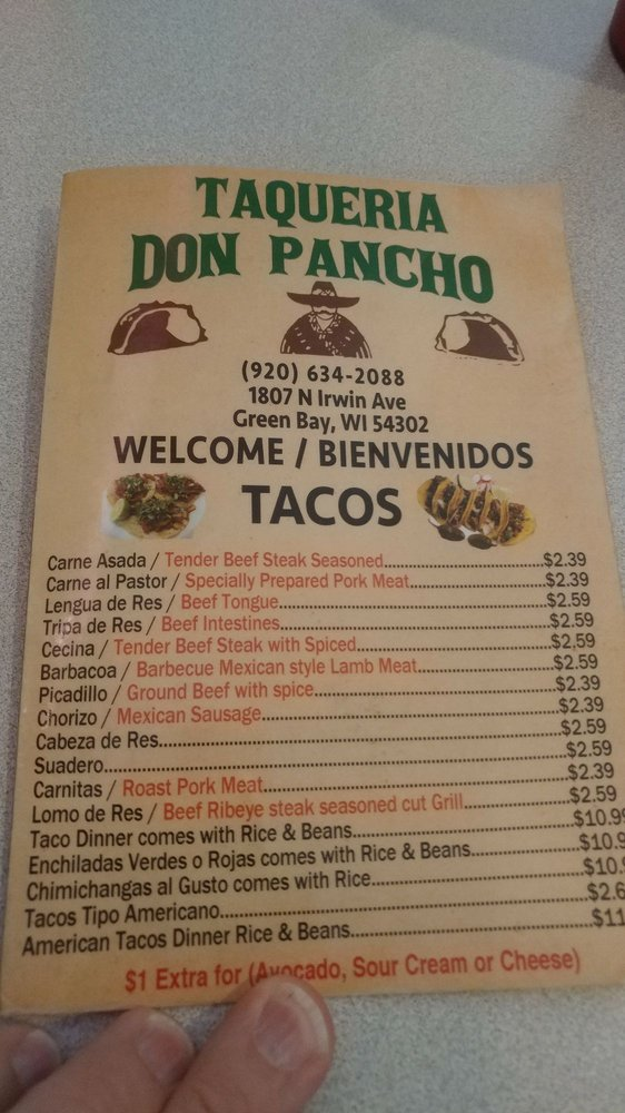 Taqueria Don Pancho: 1807 N Irwin Ave, Green Bay, WI