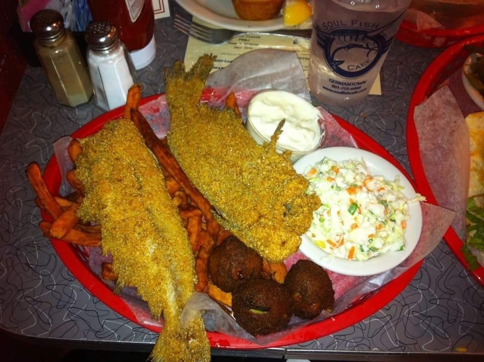 Love fried whole catfish sweet potato fries hushpuppies for Soul fish cafe