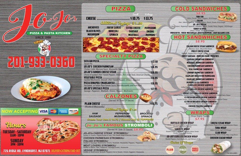 Jo Jo S Pizza And Pasta Kitchen Lyndhurst Nj